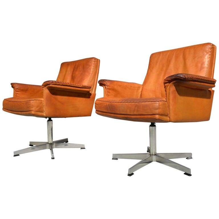 Vintage De Sede DS 35 Executive Swivel Desk Armchairs, 1960s