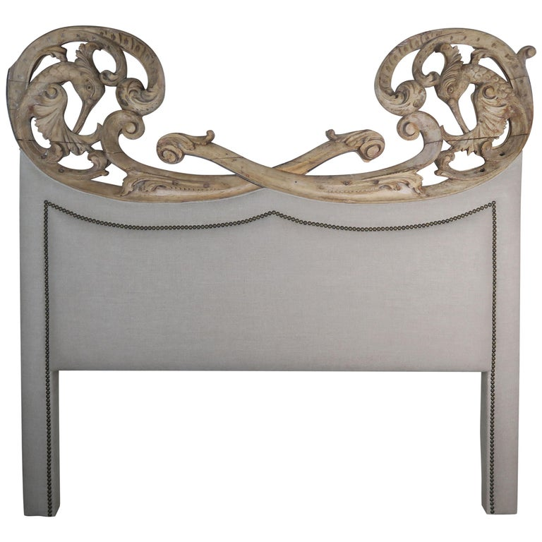 19th Century Italian Carved and Linen Headboard