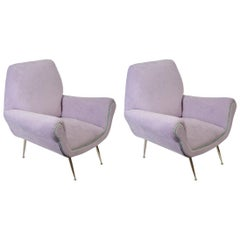 Pair of 1960s Italian Armchairs in the Style of Marco Zanuso