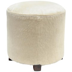 1930s Stool Upholstered with White Foal
