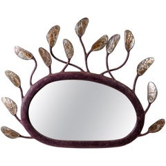 Mirror in Solid Carton with in Inlaid of Mother-of-Pearl