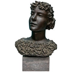 Henri Puvrez, Signed Patinated Bronze Female Bust