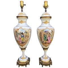 Pair of 19th Century Sèvres Porcelain Vase Lamps, France