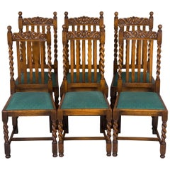 Set of Six Barley Twist Oak Dining Room or Kitchen Chairs