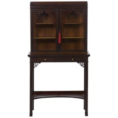 Chinese Chippendale Style Mahogany Antique Curio Cabinet by James Lamb