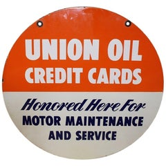 "1950s Union Oil ""Credit Cards"" Double Side Porcelain Sign"