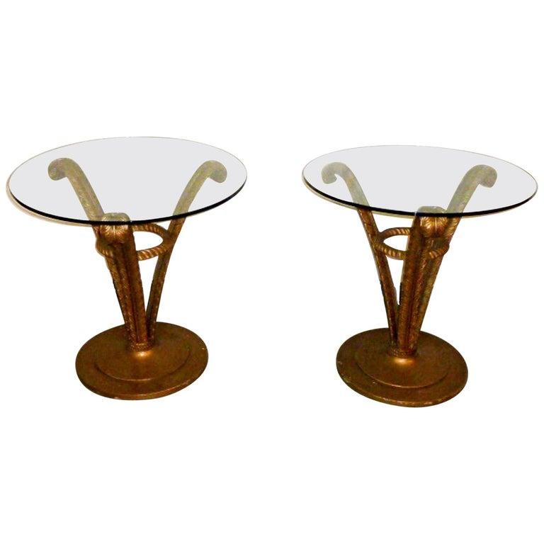 Pair of Grosfeld House Hollywood Regency Side Tables