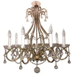 Wonderful Italian Venetian Vintage Beaded Crystal Chandelier Eight-Light Fixture