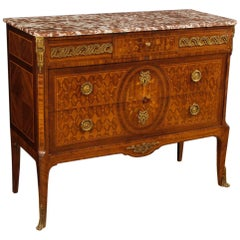 French Inlaid Dresser with Marble Top from 20th Century