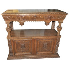 19th Century Carved Oak Two Stage Server