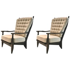 Pair of Oak and Linen Armchairs by Guillerme et Chambron, France, circa 1955