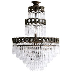 Waterfall Chandelier with Faceted Drops