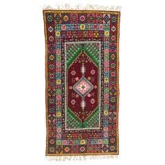 Vintage Moroccan Rabat Long Rug Antique Carpet Morocco High Atlas Collectible