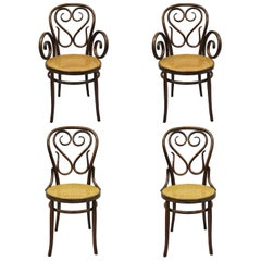 Four Michael Thonet Bentwood Round Cane Seat Cafe Bistro Dining Chairs Gebruder