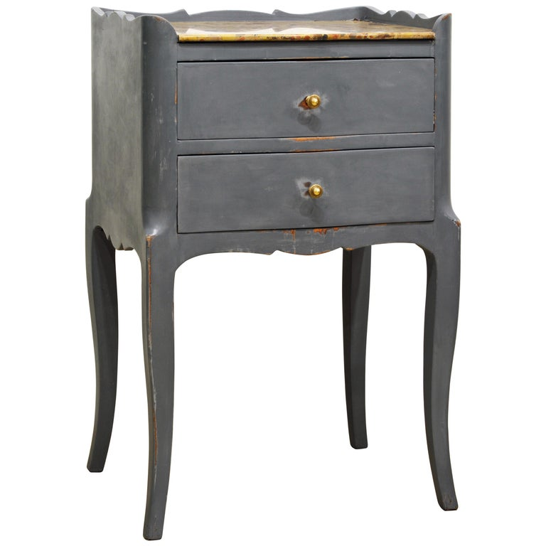 Antique French Provincial Gray Painted Marble-Top Commode For Sale