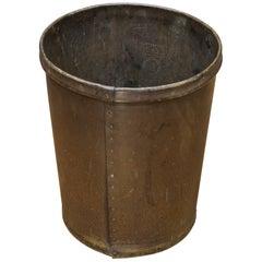 Vintage 1930s Industrial Rolled Vulcanized Fiber Wastebasket Trash Can
