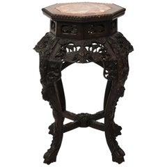 Hexagonal Hardwood Chinese Export Side Table, circa 1870