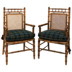Faux Bamboo and Cane Armchairs