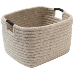 Natural Wool Basket in Light Grey, Leather Wrap Handles, Custom Woven in the USA