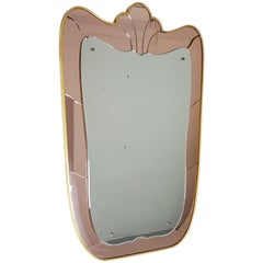 Large Italian Golden Aluminum and Pink Mirrored Glass Mid Century Wall Mirror