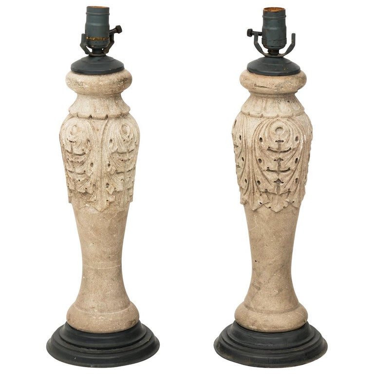 Pair of Stone Baluster Lamps