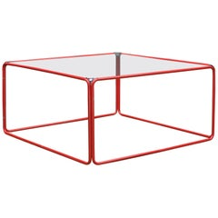 Retro Pool House Cube Table Low Red Tubular Vintage Midcentury Minimalist