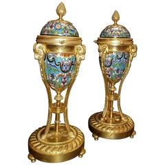 Pair of Antique French Louis XVI Style Cloisonné Enamel and Ormolu Cassolettes