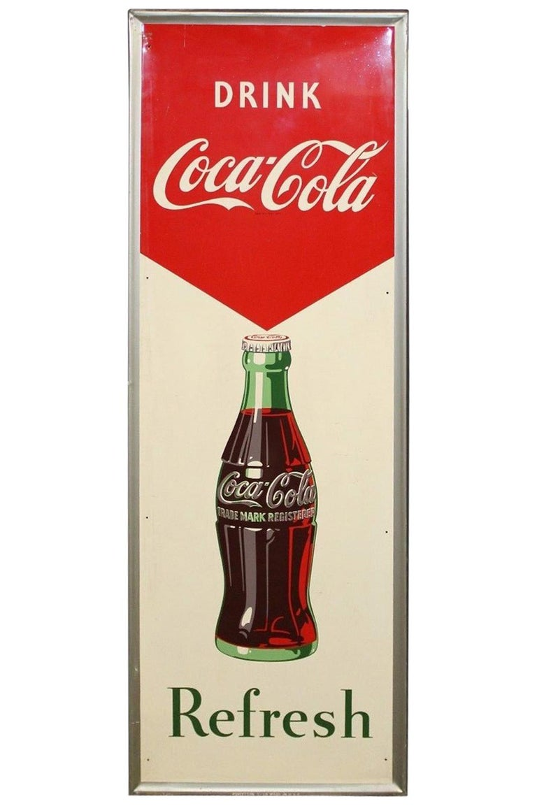 1950s Coca-Cola Vertical Tin Advertising Sign