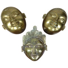 Set of Three Antique Hindu Brass Gauri Head Sculpture Storage Boxes