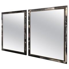 Pair of Brass and Chrome Mirrors by Willy Rizzo, Italy, 1970s