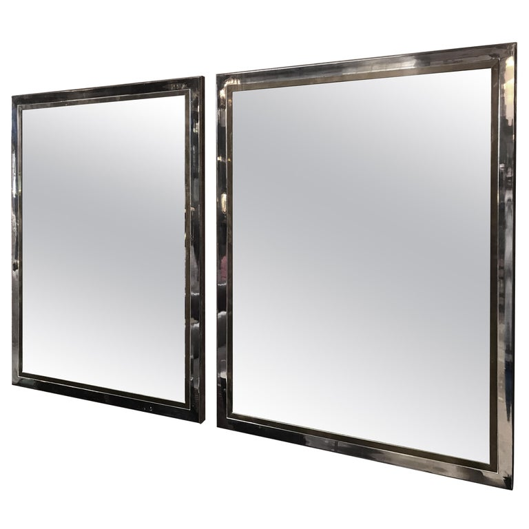 Pair of Brass and Chrome Mirrors by Willy Rizzo, Italy, 1970s For Sale