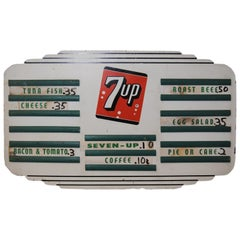 1940s 7 UP Menu Board Masonite Advertising Sign