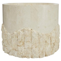 Large Postmodern Round Tessellated Stone Planter in Rough and Smooth, 1990s