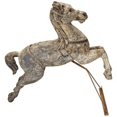 Antique Painted Jumping Horse from Northern France, circa 1900