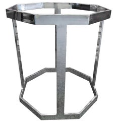 Octagonal Chrome Table Base in the Style of Milo Baughman