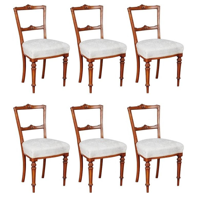 19th Century French Oak Dining Chairs Louis Xvi Set Of Six For