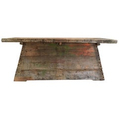 Old Rough and Distressed Italian Workbench Dated 1875