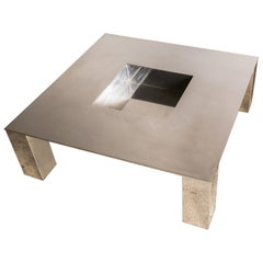 "Polished Steel ""Tebe"" Coffee Table by Giovanni Offredi for Saporiti, Italy, 1970"