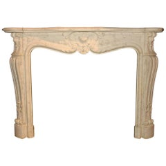 Exclusive Antique Marble Fireplace Mantel, 19th Century