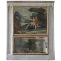 18th Century French Trumeau with Romantic Scene Oil Painting