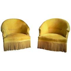 Retro Golden Yellow Velvet 1960s Armchairs