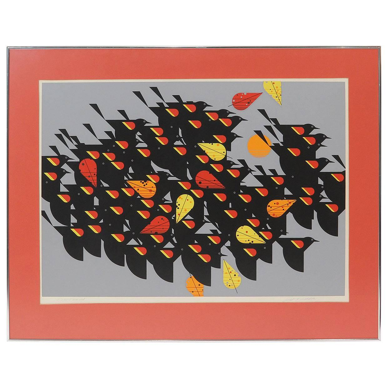 """Limited edition serigraph """"Birds of a Feather"""" (Red-Winged Blackbirds)"""