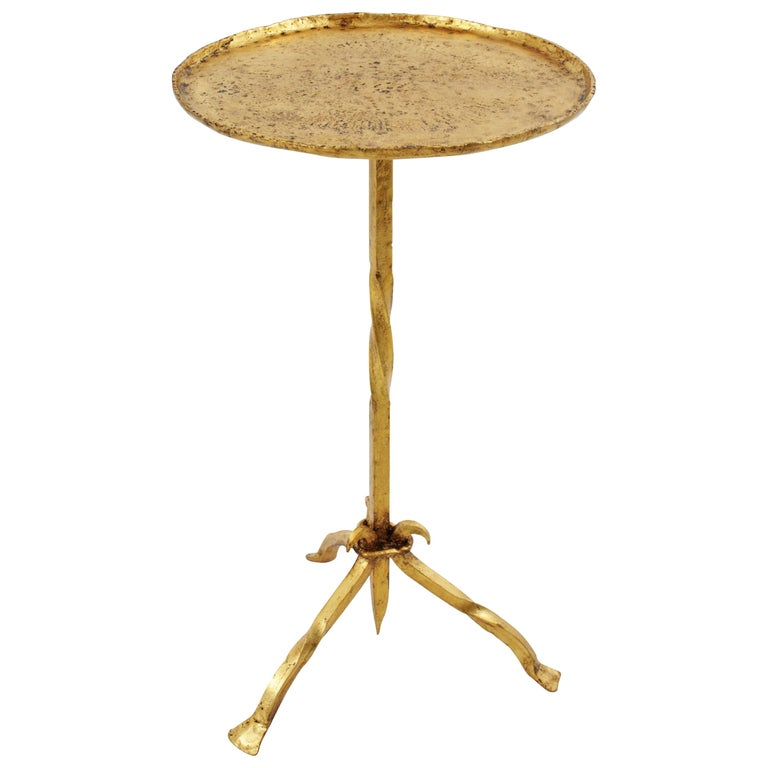 Gothic Style Spanish 1940s Hammered Gold Leaf Gilt Iron Gueridon/Side Table