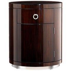 "Art Deco Inspired Chest ""the Belvedere"" in Macassar Ebony and Polished Nickel"