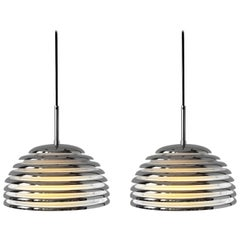 Pair of 1970s Kazuo Motozawa Chrome Louvered Pendant '' Saturno '', Germany
