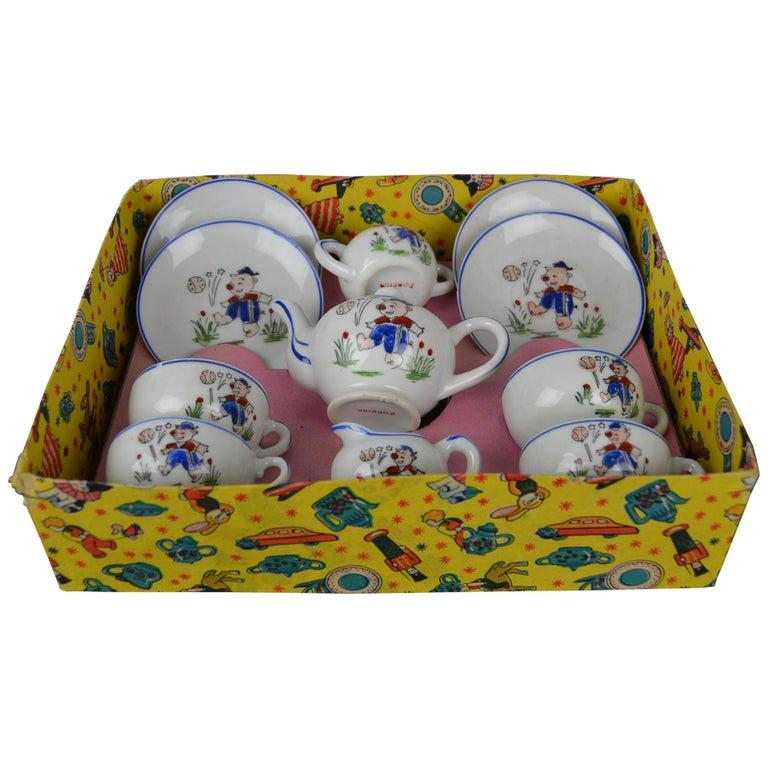 Porcelain Tea Set for Children, Pig Toy Tea Set, Foreign, Made in Japan