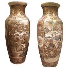 Beautiful Pair of 19th Century Japanese Satsuma Vases, Meiji Period