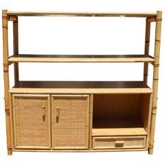 1980s Spanish Bamboo and Rattan Bookshelf with Drawers