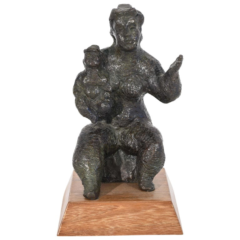 Chaim Gross Bronze Mother and Child Sculpture