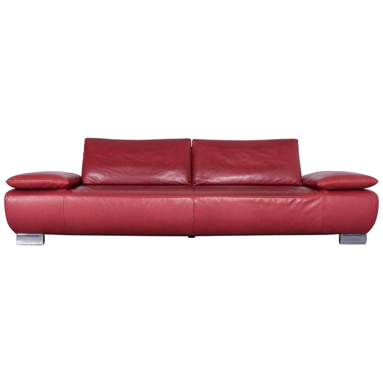 Koinor Volare Designer Sofa Red Three-Seat Leather Couch with Function For Sale